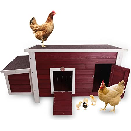 Petsfit Weatherproof Outdoor Chicken Coop with Nesting Box, Outdoor Hen House with Removable Bottom for Easy Cleaning, Weatherproof Poultry Cage, Rabbit Hutch, Wood Duck House