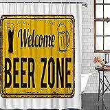 D-M-L Polyester-Duschvorhänge Für Badezimmer-Willkommenes Bier-Zonen-Rostiges Zeichen Auf Einem Hintergr&, wasserdichte Badewannen-Vorhänge Eingestellt Mit Haken 122X183CM