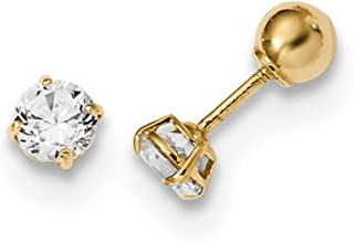 14K Yellow Rose /& White Gold Finish Earrings with Push Back by IcedTime