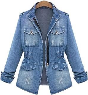 Women's Washed Distressed Denim Jean Boyfriend Zipper Outwear
