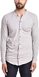 PAUSE Mandarin Solid Cotton Slim Fit Full Sleeve Men's Knitted Shirt(Small Silver-PAST11181333-LGR)