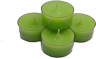 20x velas de té danesas en vasos acrílicos color verde manzana integrado sin perfume