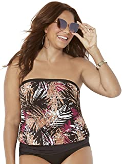 04118d5f32 Swimsuits for All Women's Plus Size Neutral Palms Bandeau Blouson Tankini  Top