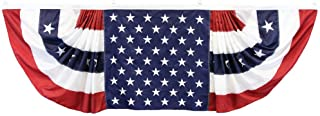 Epiphany WOW American Flag Bunting Banner 9' x 3' Large USA Patriotic Pleated Fan Flag with Embroidered Stars and Sewn Stripes - Heavy Duty Fade Resistant Outdoor Indoor Half Fan Flag for Porch Deck