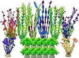 Plantas de acuario artificial para decoraciones de tanques de pescado, 18 piezas Falsas plantas de agua verde para el paisaje de acuario, plantas acuáticas plásticas adornos, plantas de acuario de Fau