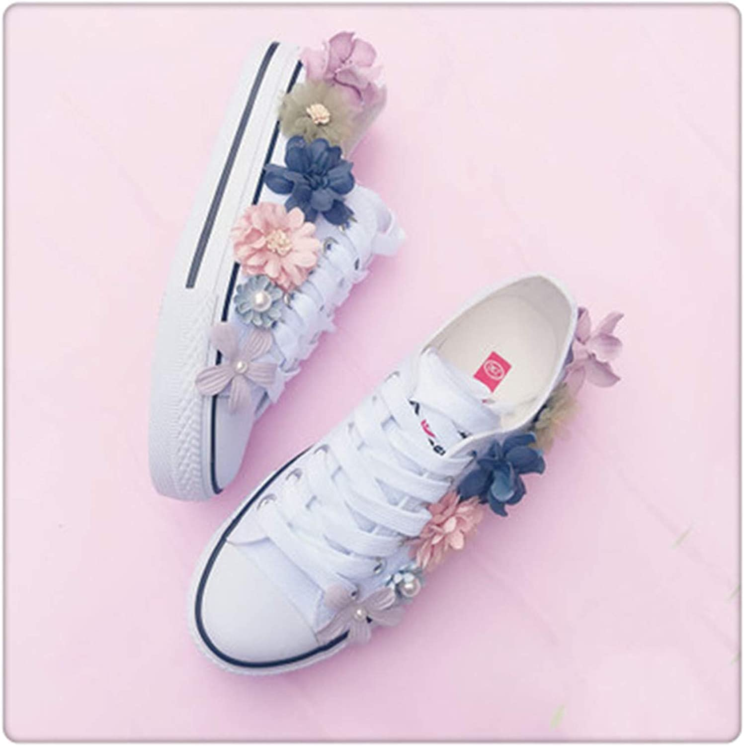 RBHSG Sneakers Wedges Canvas Women's Sequins Flowers White Flat