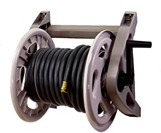 Suncast Resin Wall Mounted Hosehandler Garden Hose Reel - Durable Outdoor Reel with Crank Handle and Leader Hose - 200' Hose Capacity - Taupe