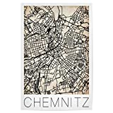 artboxONE Poster 45x30 cm Städte Retro Map of Chemnitz