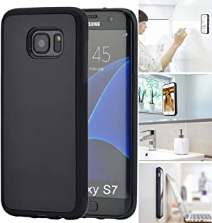 [ Monca ] Anti Gravity Cellphone Case [Black] Magical Nano Technology Stick to Wall, Glass, Whiteboards, Tile, Smooth Flat Surfaces (Goat Case for Galaxy S7)
