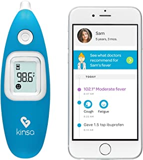 Smart Ear Thermometer for Fever - Baby,  Kid and Adult Digital Medical Thermometer - Accurate,  Fast,  FDA Cleared Temperature Readings Termometro - by Kinsa