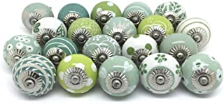 JGARTS 20 Green & White Cream Ceramic Pottery Door knobs Cabinet Handle Cupboard Pulls Drawer Puller knob