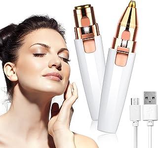URAQT gezichtshaarverwijderaar voor vrouwen, 2-in-1 wenkbrauwtrimmer & gezichtshaarverwijderaar, oplaadbaar waterdicht pij...