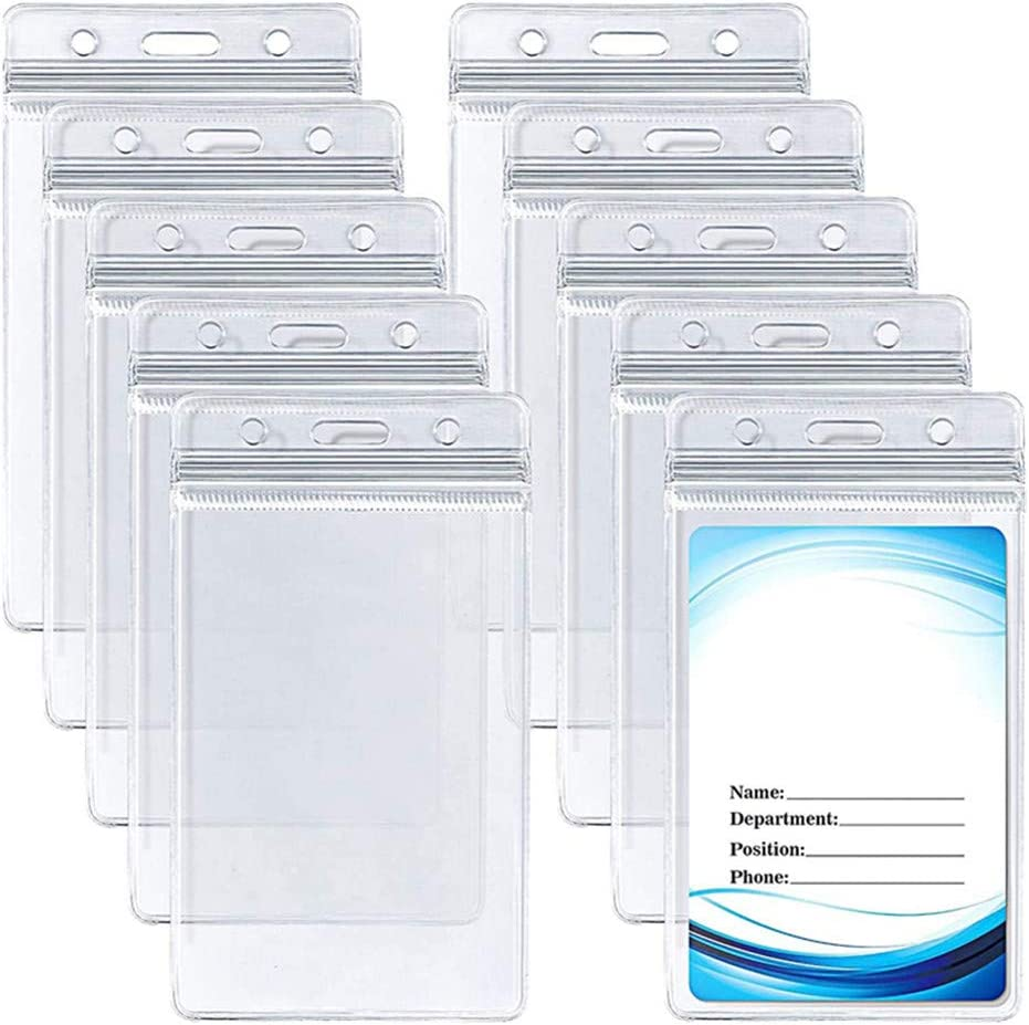 10pcs Clear ID Badge Excellence Card Vertical Holder PVC Max 84% OFF W with