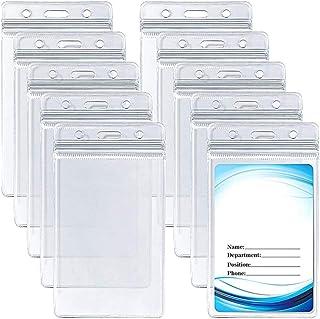 10 pièces Clair Porte-cartes d'identité Porte-cartes vertical en PVC avec porte-badge nominatif étanche et refermable pour...