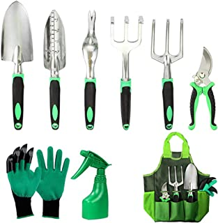 9Pcs Herramientas de Jardín, Kit de Jardinería Acero Inoxidable Juegos de Herramientas con Organizador Bolsa, para Traspla...