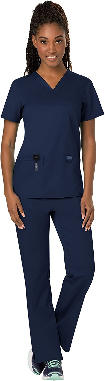 Cherokee Workwear Revolution Women's Scrub Set Bundle  WW620 VNeck Top & WW110 Pull On Pant & Marc Stevens Badge Reel