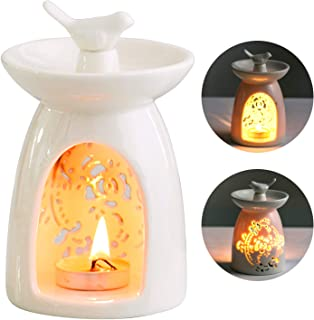 WANYA Ceramic Tea Light Holder, Aromatherapy Essential Oil Burner, Wax Warmer Great Decoration for Living Room, Balcony, Patio, Porch and Garden (White)