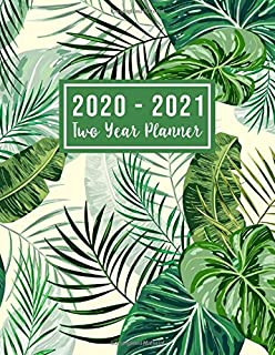 2020-2021 Two Year Planner: 2020-2021 see it bigger planner | Green Leaves Cover 24 Months Agenda Planner with Holiday from Jan 2020 - Dec 2021 Large ... for Mom (2 year monthly planner 2020-2021)