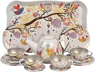 Metal Tea Set Tray Miniature, Pretend Play Toys - Bird in Autumn -15 pcs