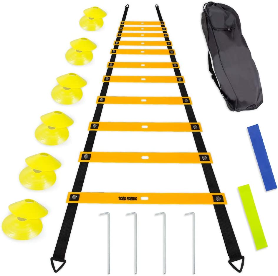 TOCO FREIDO Speed&Agility Training Set – 20ft Agility Ladder Set with 12 Rungs, 4 Adjustable Training Hurdle, 12 Disc Cones, 2 Resistance Bands, 1 Running Parachute and Footwork Drills Equipment