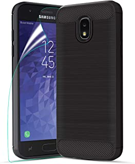 Galaxy J3 Star Case w/Screen Protector,Galaxy J3V J3 V 3rd Gen Case,Galaxy J3 Orbit Phone Case,Galaxy J3 2018 Case,Carbon Fiber Brushed Soft Slim Anti-Scratch Anti-Slip Rubber Protective Cover,Black