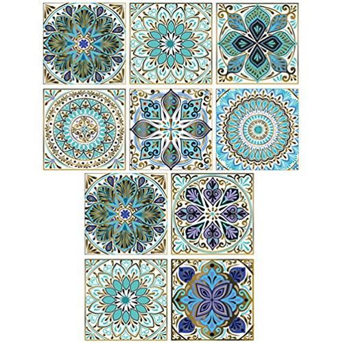 FOMIYES 10 Piezas de Adhesivos para Azulejos Adhesivos de Mosaico Adhesivos para Azulejos de Cocina Baños Azulejos de Vinilo Adhesivos para Pared Decoración de Suelo 20X20CM
