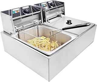 Clevr 11 Liter Capacity Commercial Stainless Steel Deep Fryer Machine 110v Double Two Tank Design Restaurant