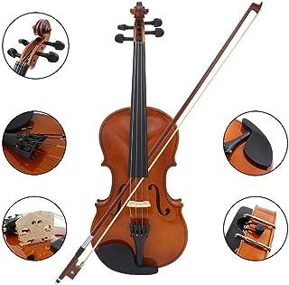 Volwco violín de madera maciza de tamaño completo para principiantes/estudiantes, kit de iniciación de violín acústico profesional con funda, lazo y colofonia, 4/4