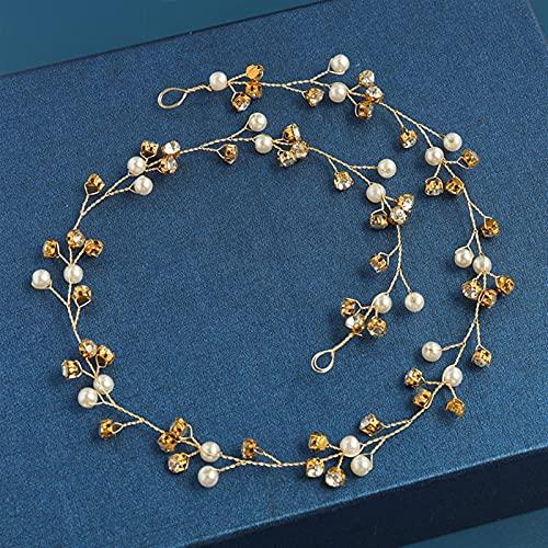 lkpoijuh Accesorios para el Cabello de la Boda DIEADA Tiara Flor HABITACIÓN Pelo Vid Mujeres Joyería de Pelo Accesorios de Pelo Nupcial (Metal Color : 48cm Gold)