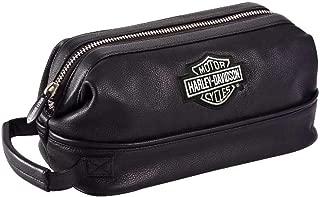 Harley Davidson Leather Toiletry Kit, Black
