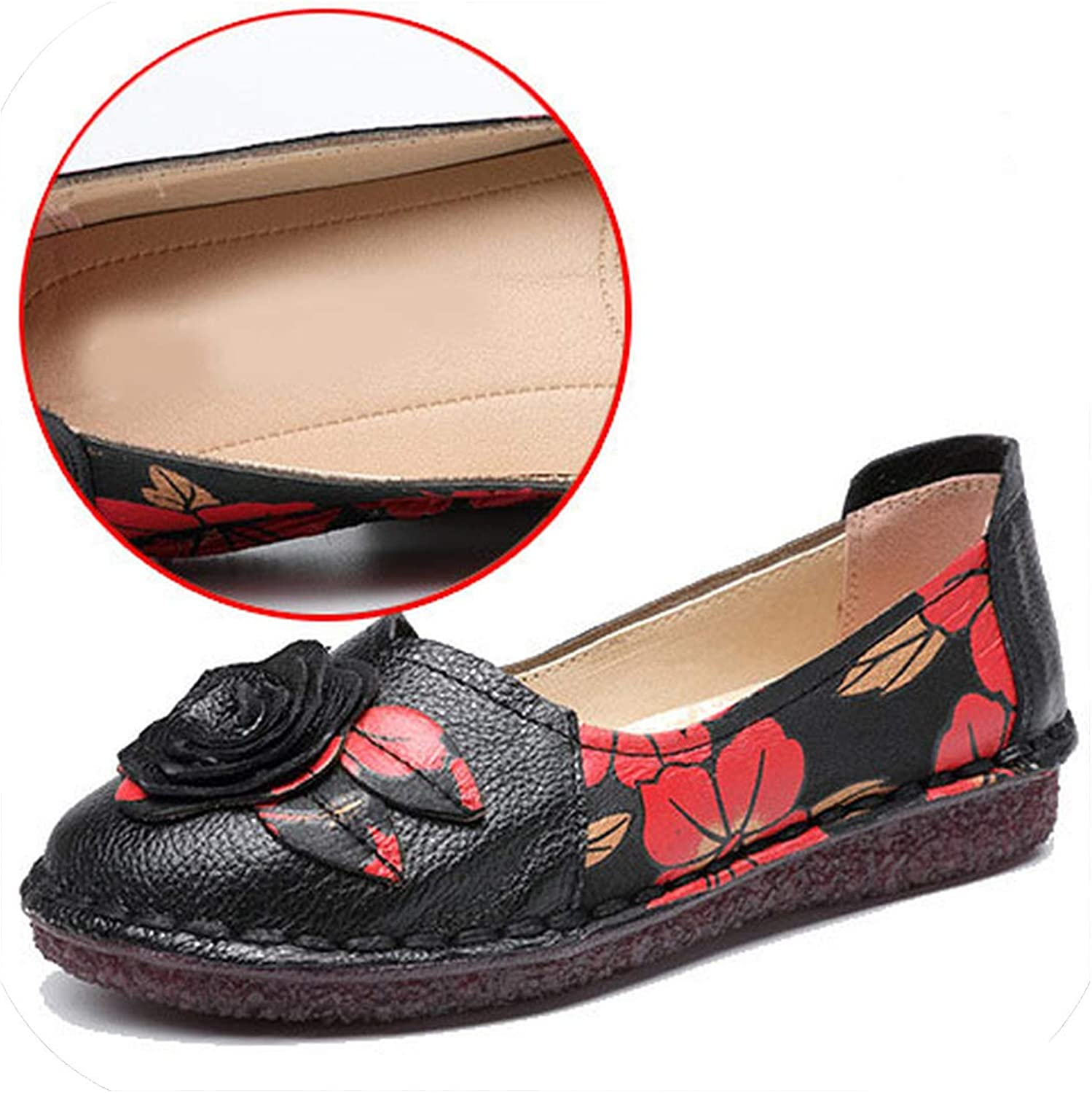 Baixa Warm Genuine Leather shoes Winter Women Ballet Flats Loafers Winter Ladies Slip On Flat shoes bluee Black shoes women