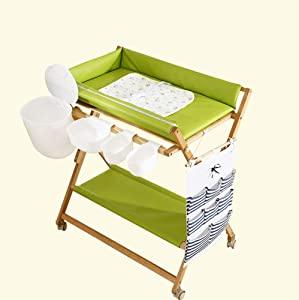 WEHOLY Changing Table Baby Care Station Wood Diaper Table Multifunction Storage Foldable Nursery Massage Station for Infant