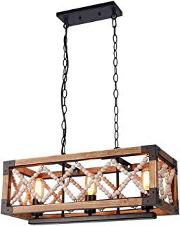 Giluta Rustic Wood Bead Chandelier Kitchen Island Pendant Light Fixture, Farmhouse Style Rectangle Chandelier 3 Lights for Living Room Dining Room Bedroom, Brown (C0043)