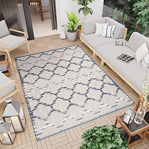 Tapiso Patio Alfombra de Terraza Cocina Externo Interno Moderno 3D Beige Azul Gris Marroquí Resistente Sisal 120 x 170 cm