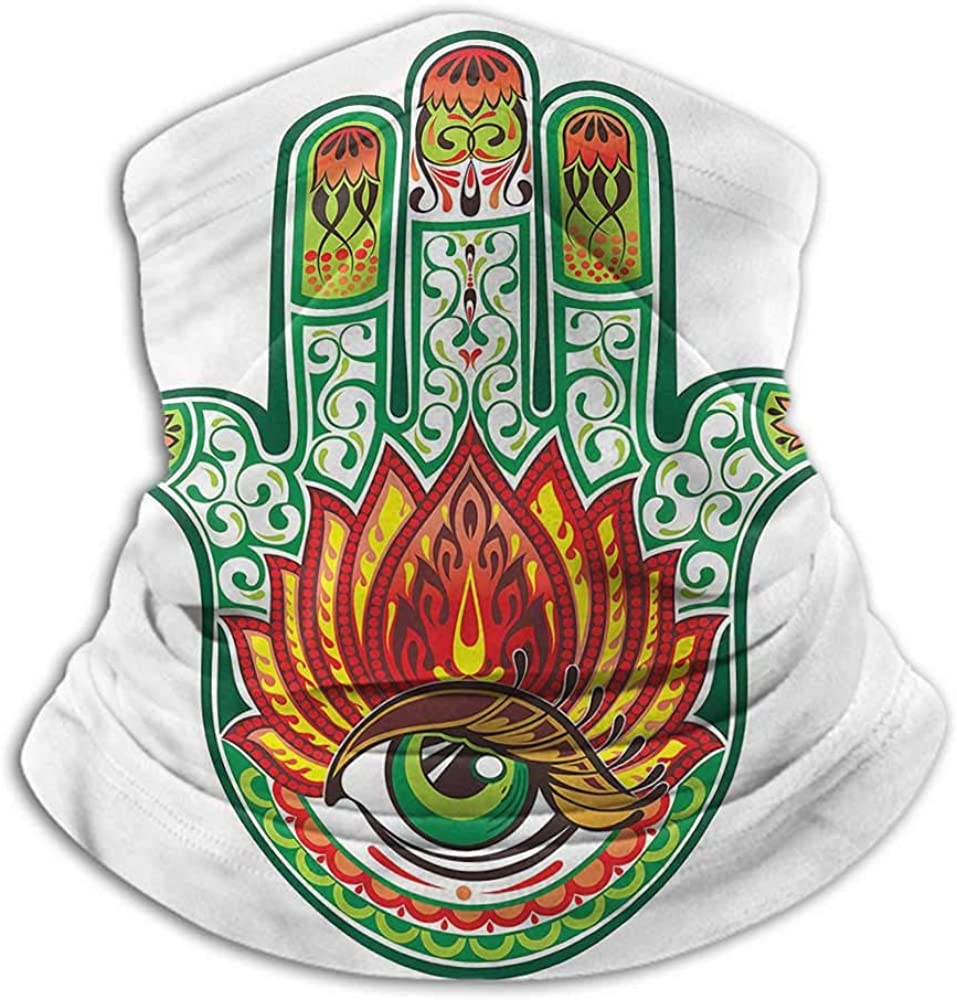 Face Scarf Mask For Men Hamsa Cold Weather Face Motorcycle Scarf Ancient Hand of Fatima 10 x 12 Inch