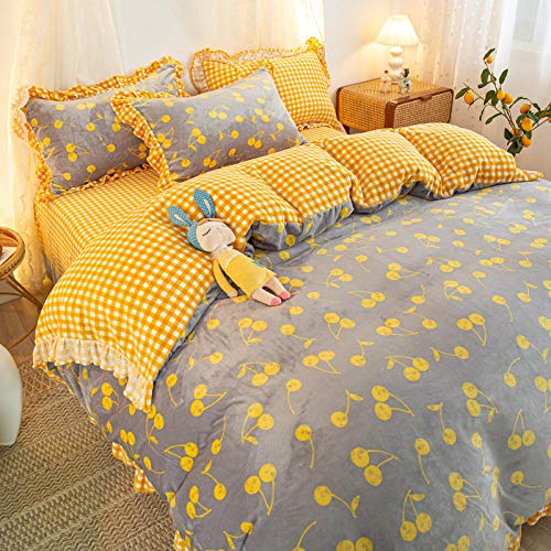 Shinon king size duvet cover sets,Winter double-sided fleece warmth flannel duvet cover single double bed single pillowcase-A_2.0m bed (4 pieces)