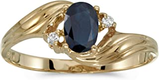 0.41 Carat ctw 10k Gold Oval Blue Sapphire & Diamond Bypass Swirl Cocktail Anniversary Fasion Ring