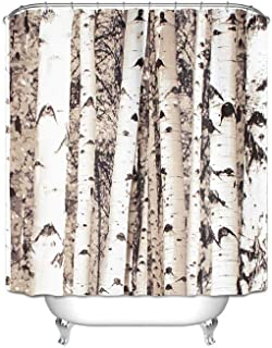 Alibuy Birch Tree Pattern Waterproof Bath Shower Curtains Fabrics Curtain with Free 12 Hooks,180x180cm