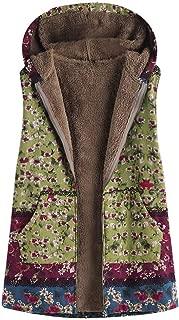 Women Coat Parka Vintage Floral Plaid Print Hooded Warm Outwear Flannel Lining Jacket Hoodie Overcoat