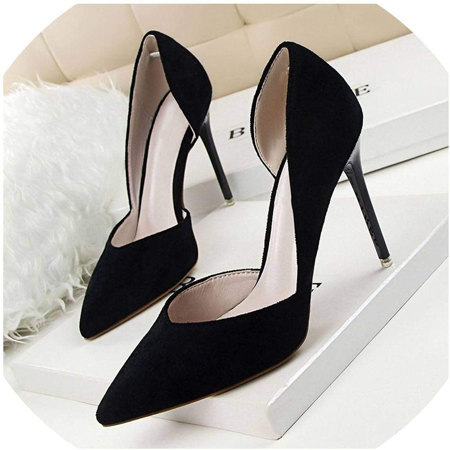 Lin-House Simple Delicate Thin with High Heel Suede Shallow Pointed Side Hollow Women's shoes