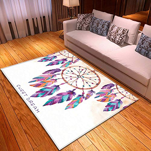 KFEKDT Tappeto Nordico in Flanella Decorazione familiare Motivo con Piume Soggiorno Camera per Ragazza Tappeto Antiscivolo Tappeto per Bambini Striscia Tappeto A8 120x170 cm