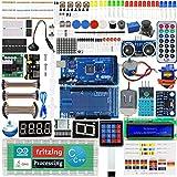 Adeept Ultimate Kit de iniciación para Arduino Mega2560LCD1602, Motor Paso a Paso, ADXL345, Kit de Aprendizaje con PDF guía