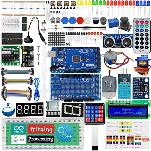 Adeept Ultimate Starter Kit Compatible with Arduino Mega2560, LCD1602, Stepper motor, ADXL345, Starter Learning Kit with PDF Guidebook