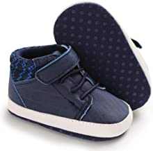Meckior Save Beautiful Baby Girls Boys Canvas Sneakers Soft Sole High-Top Ankle Infant First Walkers Crib Shoes M/Blue