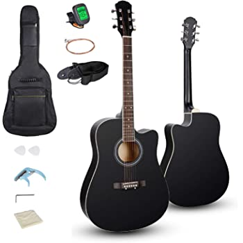 """Smartxchoices 6 String 41"""" Full Size Acoustic Guitar Cutaway Wooden Guitar Set w/Gig Bag Strap, Tuner, Capo,Extra Strings Kit Pick for Adult Kids Beginner Starter Youths Students Right-handed (Black)"""