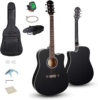 Smartxchoices 6 رشته 41 اینچ گیتار چوبی گیتار آکوستیک قطع کامل چوبی با بند ، تیونر ، کاپو ، کیت رشته های اضافی برای بزرگسالان مبتدی جوانان مبتدی مبتدی راست دست (سیاه)
