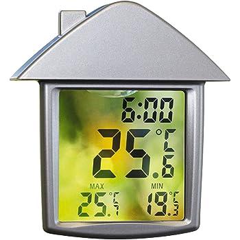 REFURBISHHOUSE Garten wasserdichte Thermometer Speicher Thermometer Aussen Fenster Thermometer Kuehlschrank Thermometer Schwarz