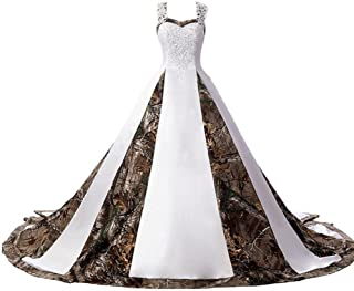 27263a14b9329 ZVOCY Women's Camouflage Wedding Dresses for Bride Satin Camo Long Formal  Gown for Wedding White