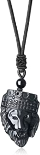 COAI Crowned Lion King Obsidian Pendant Necklace for Men
