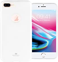 GOOSPERY Marlang Marlang iPhone 8 Plus Case - White, Free Screen Protector [Slim Fit] TPU Case [Flexible] Pearl Jelly [Protection] Bumper Cover for Apple iPhone8Plus, IP8P-JEL/SP-WHT